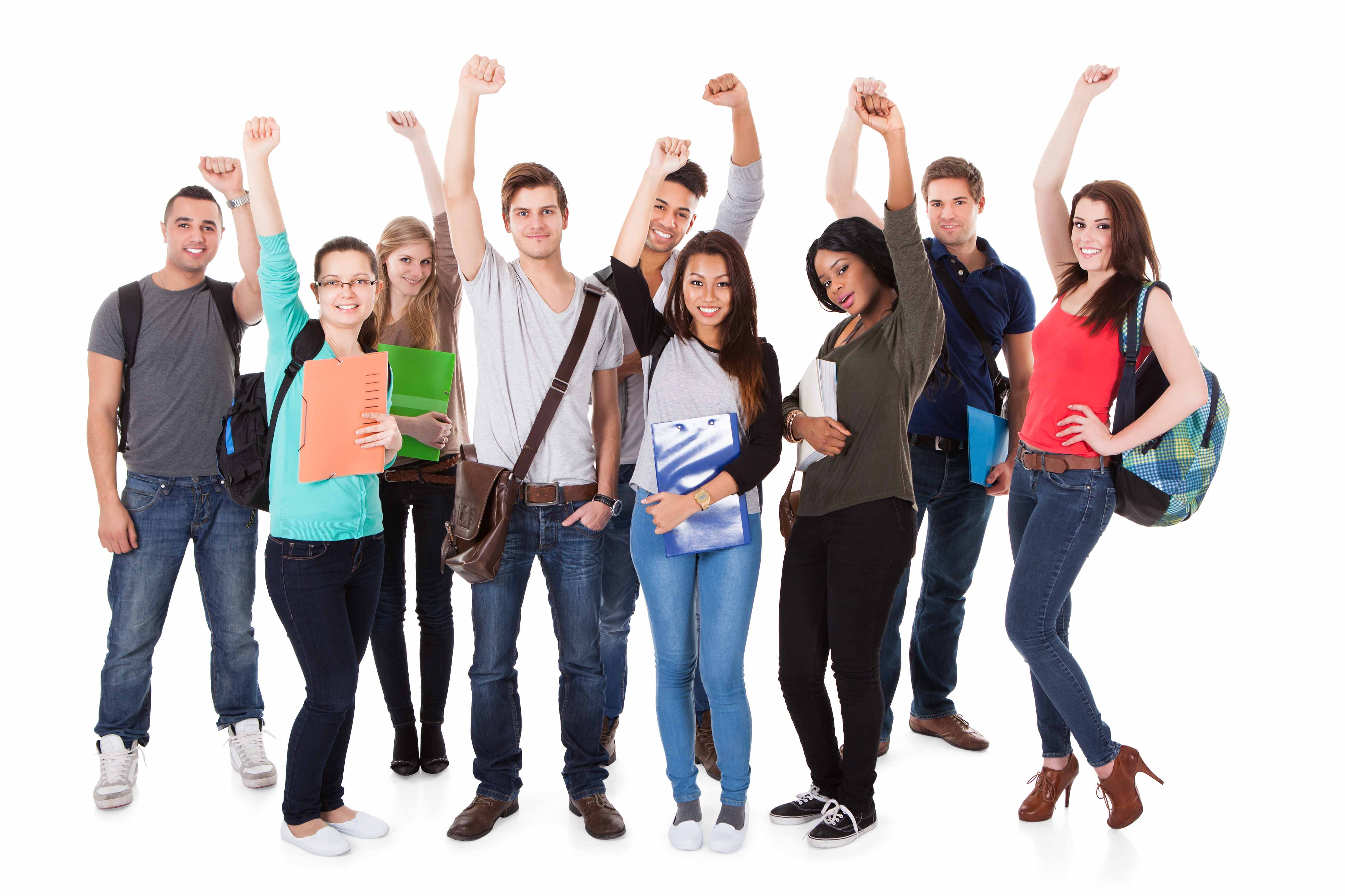 Successful University Students Over White Background